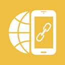 link building, internet, smartphone, Mobile, earth, globe, Link SandyBrown icon