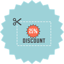 save, Discount, Cut, ecommerce, Price, Coupon, voucher LightBlue icon