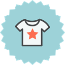 tshirt, clothing, Cloth, Shirt, star, Clothes, t-shirt LightBlue icon