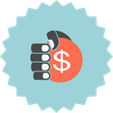 sign, Hand, ecommerce, coin, hand holding coin, Dollar, hand with dollar LightBlue icon