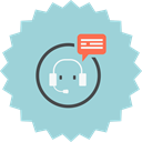 consultant, Bubble, Headset, Service, support, help, customer support LightBlue icon