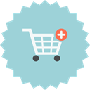 shopping, Cart, Add to cart, ecommerce, plus, buy, Add LightBlue icon