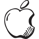 hand drawn, Social, Apple, free Black icon