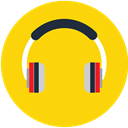music, play, Audio, sound, media, Headphone Gold icon