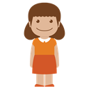 person, Girl, Female, Avatar, Orange, kid, Child Black icon