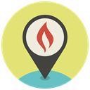 Map, Gps, fire, pin, Pointer, location, navigation Khaki icon