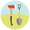 fire, equipment, shovel, repair, tools, Ax, work Khaki icon