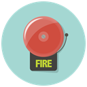 fire, danger, fire alarm, Alarm, bell, warning, Alert LightBlue icon