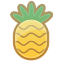 Fruit, pineapple, sweet, tropical, food Black icon