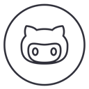 Github, Code, Circles, line, neon, Developers, Social Black icon