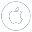 Apple, mac, Social, machintosh, Circles, line, neon Black icon