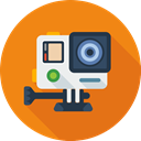 Social, Camera, movie, media DarkOrange icon