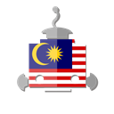 malaysia, robot, bot, telegram, my, flag Black icon