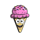 Cream, cone, Ice, Cartoon, Emoji Black icon