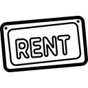 Renting, rental, property, signs, real estate Black icon