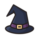magic, halloween, horror, scary, hat, witch Black icon