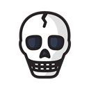 halloween, skull, scary, Dead, danger, death, Skeleton Black icon