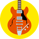 gibson, music, Back to the future, guitar, instrument Gold icon