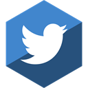 media, twitter, Social, Gloss, Hexagon DarkSlateBlue icon
