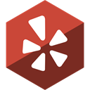 Hexagon, Gloss, Social, media, Yelp SaddleBrown icon