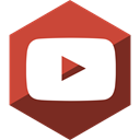 Social, youtube, Hexagon, Gloss, media IndianRed icon