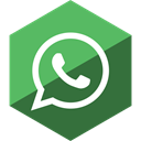 Whatsapp, media, Hexagon, Gloss, Social MediumSeaGreen icon