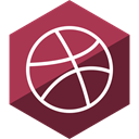 Social, Hexagon, dribbble, media, Gloss Brown icon