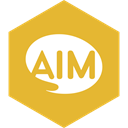 media, Aim, Hexagon, Social Goldenrod icon