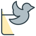 media, bird, twitter, Social, Communication Black icon