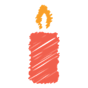 Celebration, light, fire, christmas, Candle, scribble, birthday Black icon