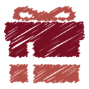 Box, gift, free, scribble, surprise, present, christmas Maroon icon