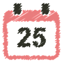 Schedule, christmas, december, event, 25, scribble, Calendar LightCoral icon