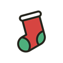 Holidays, christmas, sock Black icon
