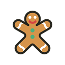 food, Holidays, Man, gingerbread, christmas Black icon