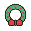 christmas, Holidays, wreath Black icon