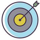 shoot, bullseye, Center, Target, Aim, Arrow LightBlue icon