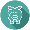 no money, Coins, Bankrupt, bankruptcy, financial problem, Cash, broken piggy bank CadetBlue icon
