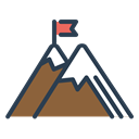flag, Achieve, Goal, peak, mountains, trip, resolutions Black icon