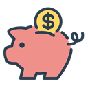 Money, coin, savings, resolutions, save money, piggy DarkSalmon icon