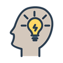 Improve, ideas, Light bulb, head, Fresh idea, mind, resolutions Silver icon