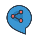 Connection, share, message bubble, talk, communicate, socialize, resolutions SteelBlue icon