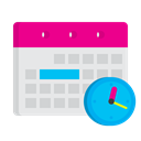 strategy, plan, Manage, Calendat, Clock, Schedule, time Lavender icon
