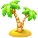 Beach, leisure, travel, palm, vacation Black icon