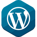 Wordpress, Blue, hexagonal, cms, blog Teal icon