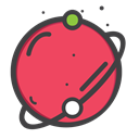 space, univearse, telestial, planet IndianRed icon