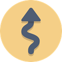 Arrow, windy, curve Khaki icon