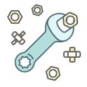 Service, tool, Wrench, nut, repair, settings Black icon