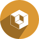 free, network, Social, media, cubenet Goldenrod icon