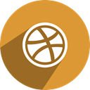 network, free, dribbble, media, Social Goldenrod icon