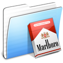 stripped, Aqua, marlboro, Folder Black icon